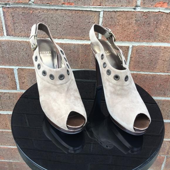 Stuart Weitzman Shoes - Stuart Weitzman Platform Suede Slingback Pumps